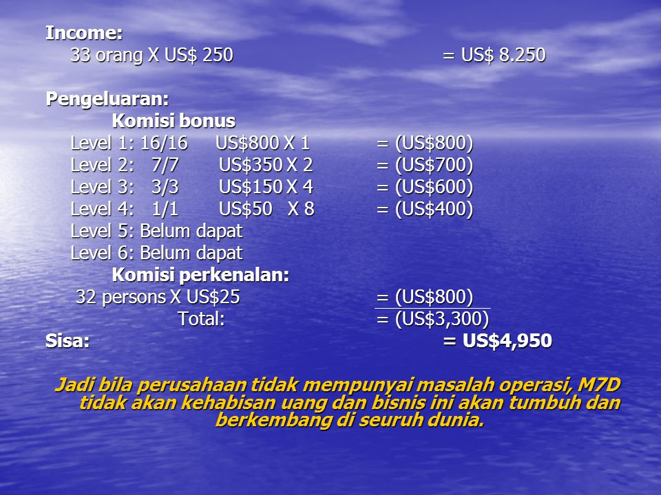 Income: 33 orang X US$ 250 = US$ 8.250. Pengeluaran: Komisi bonus. Level 1: 16/16 US$800 X 1 = (US$800)