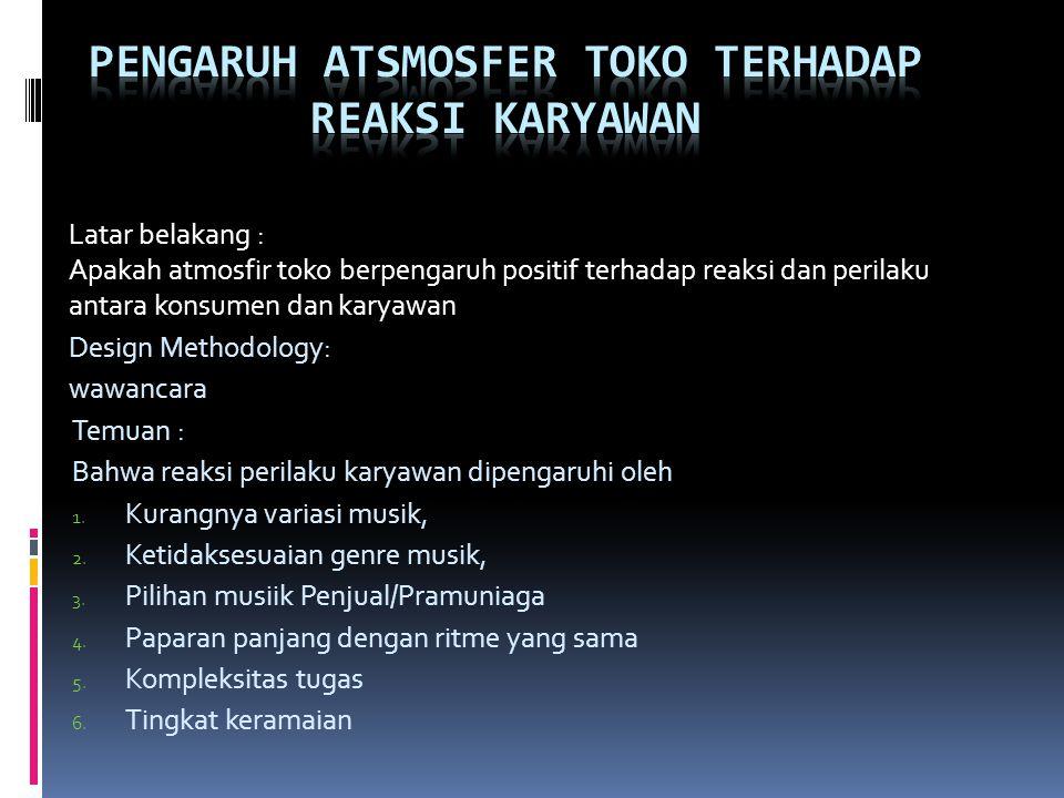 Pengaruh atsmosfer Toko terhadap reaksi karyawan
