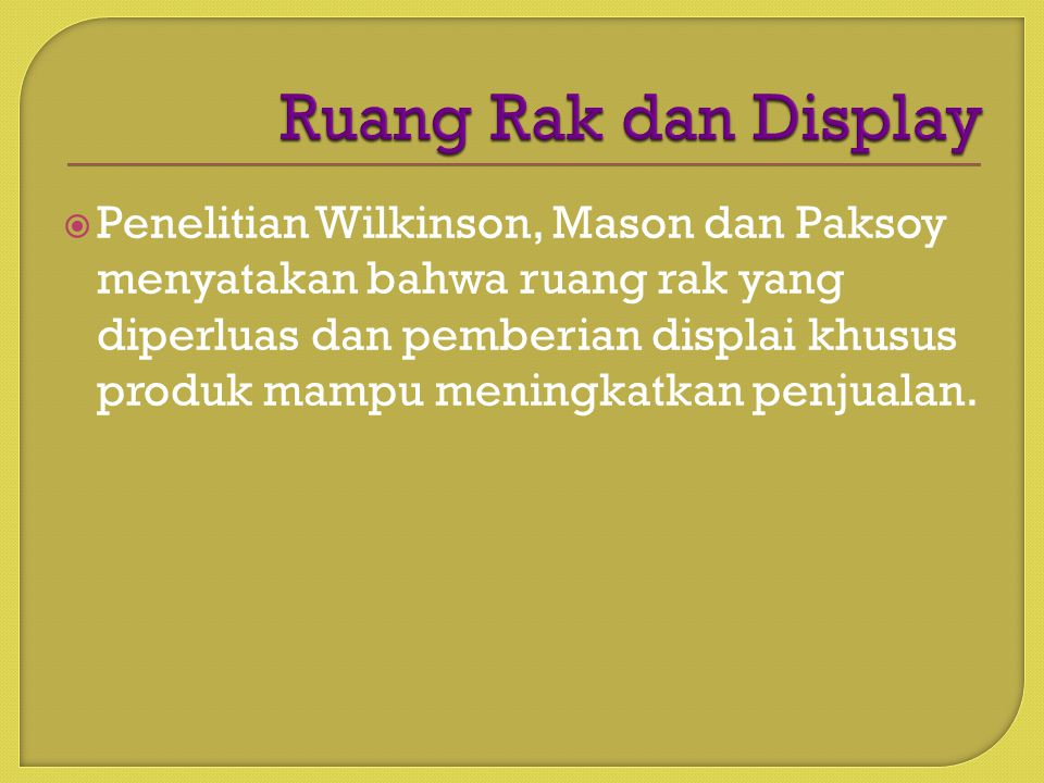 Ruang Rak dan Display