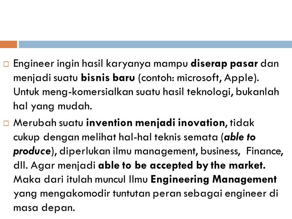 Engineer ingin hasil karyanya mampu diserap pasar dan menjadi suatu bisnis baru (contoh: microsoft, Apple). Untuk meng-komersialkan suatu hasil teknologi, bukanlah hal yang mudah.