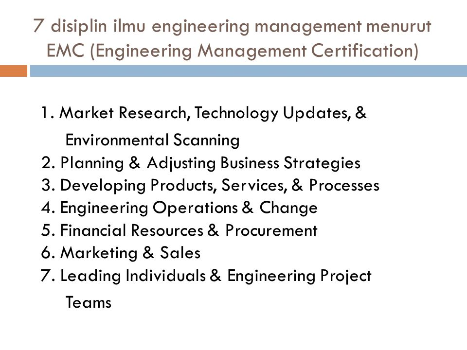 7 disiplin ilmu engineering management menurut EMC (Engineering Management Certification)