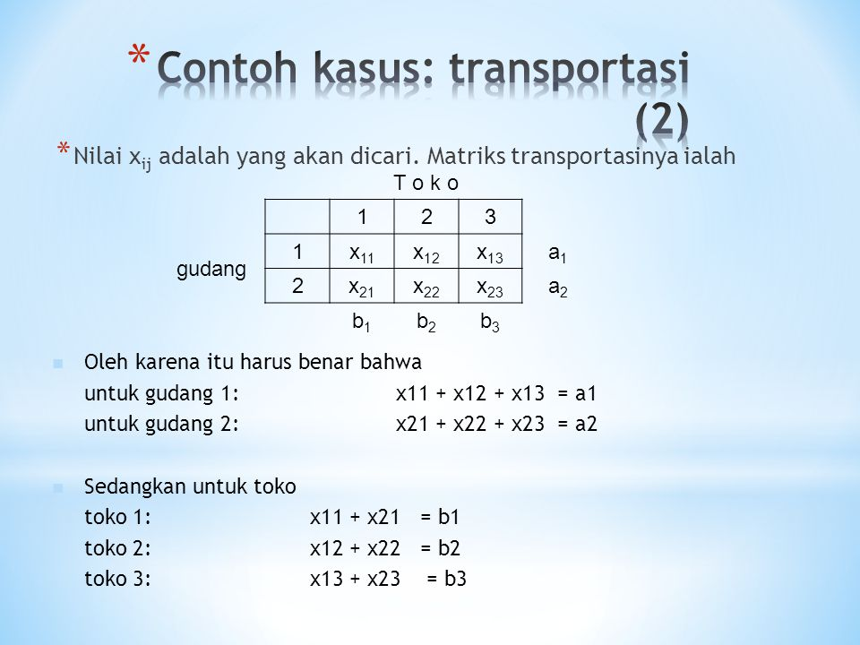 Contoh kasus: transportasi (2)
