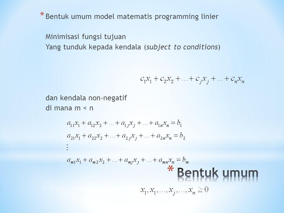 Bentuk umum Bentuk umum model matematis programming linier