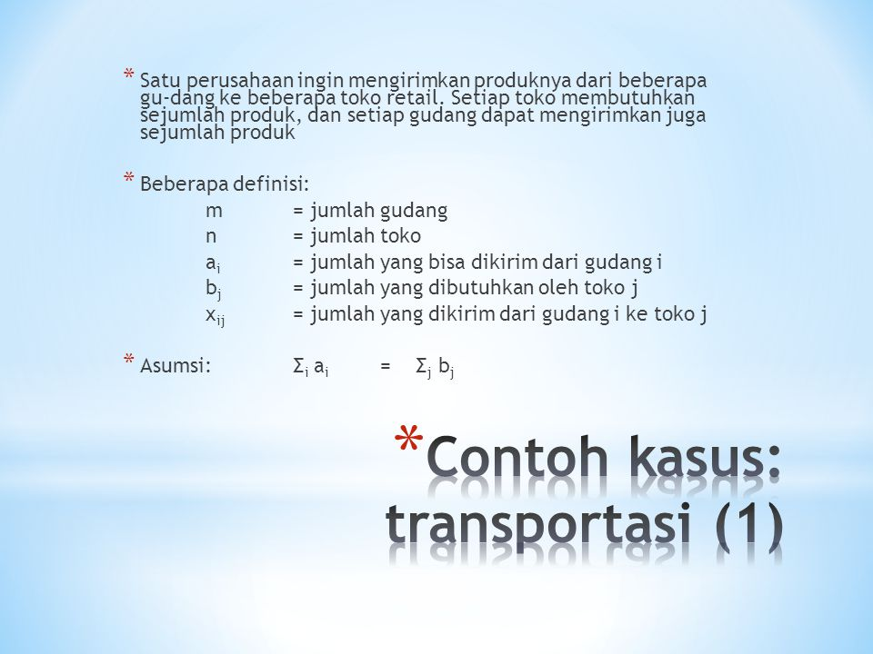 Contoh kasus: transportasi (1)