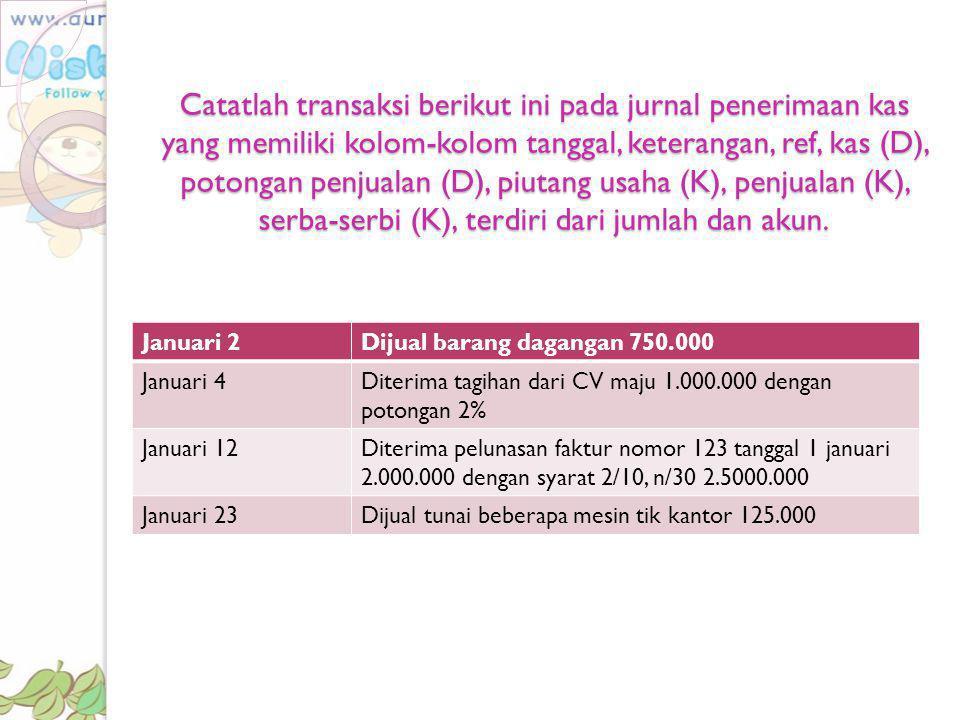 Catatlah transaksi berikut ini pada jurnal penerimaan kas yang memiliki kolom-kolom tanggal, keterangan, ref, kas (D), potongan penjualan (D), piutang usaha (K), penjualan (K), serba-serbi (K), terdiri dari jumlah dan akun.