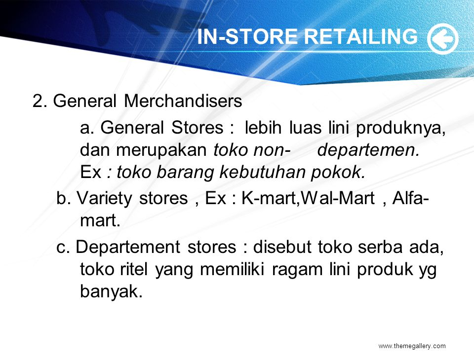 IN-STORE RETAILING