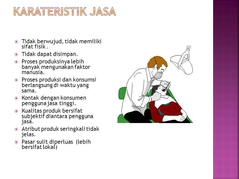 Karateristik jasa Tidak berwujud, tidak memiliki sifat fisik .