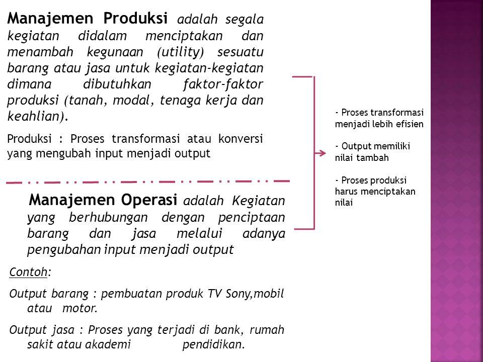 Manajemen Produksi adalah segala kegiatan didalam menciptakan dan menambah kegunaan (utility) sesuatu barang atau jasa untuk kegiatan-kegiatan dimana dibutuhkan faktor-faktor produksi (tanah, modal, tenaga kerja dan keahlian).