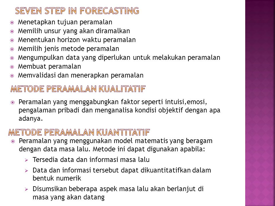 Seven step in forecasting