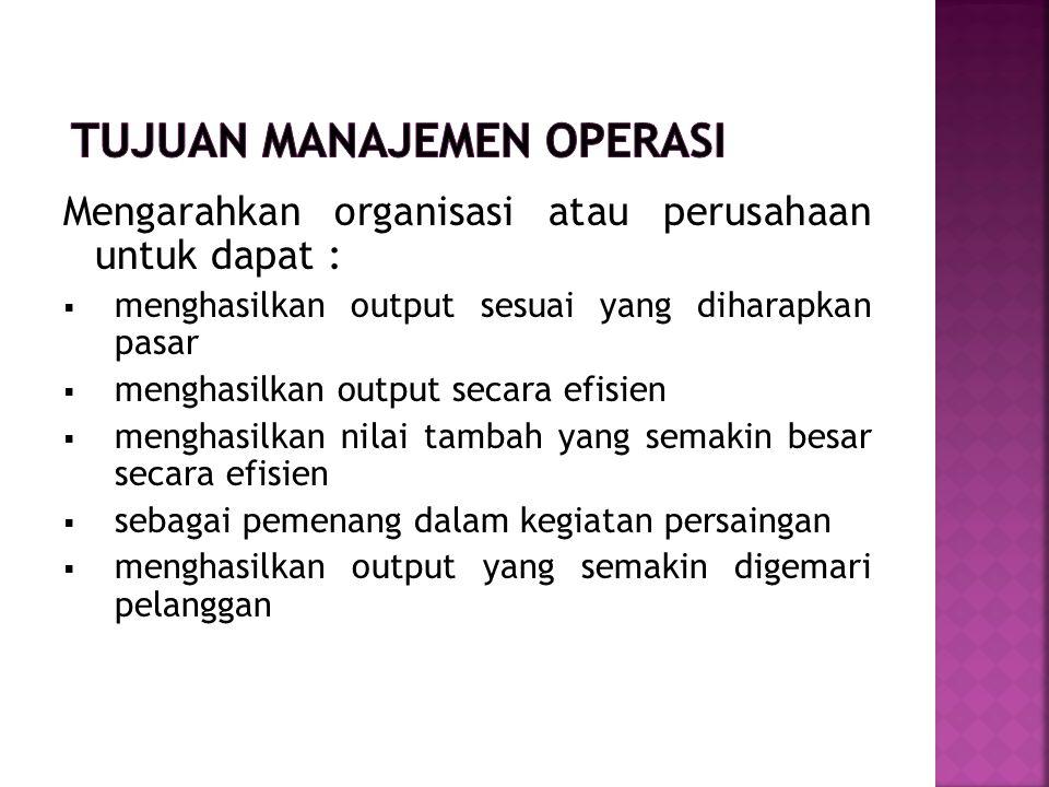 Tujuan Manajemen Operasi