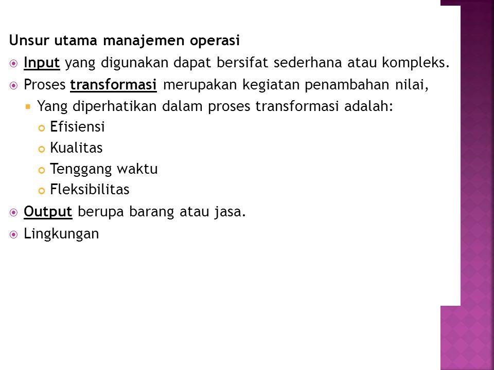 Unsur utama manajemen operasi