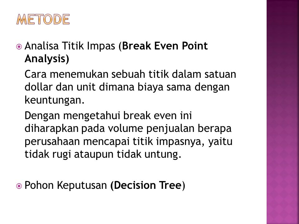 metode Analisa Titik Impas (Break Even Point Analysis)