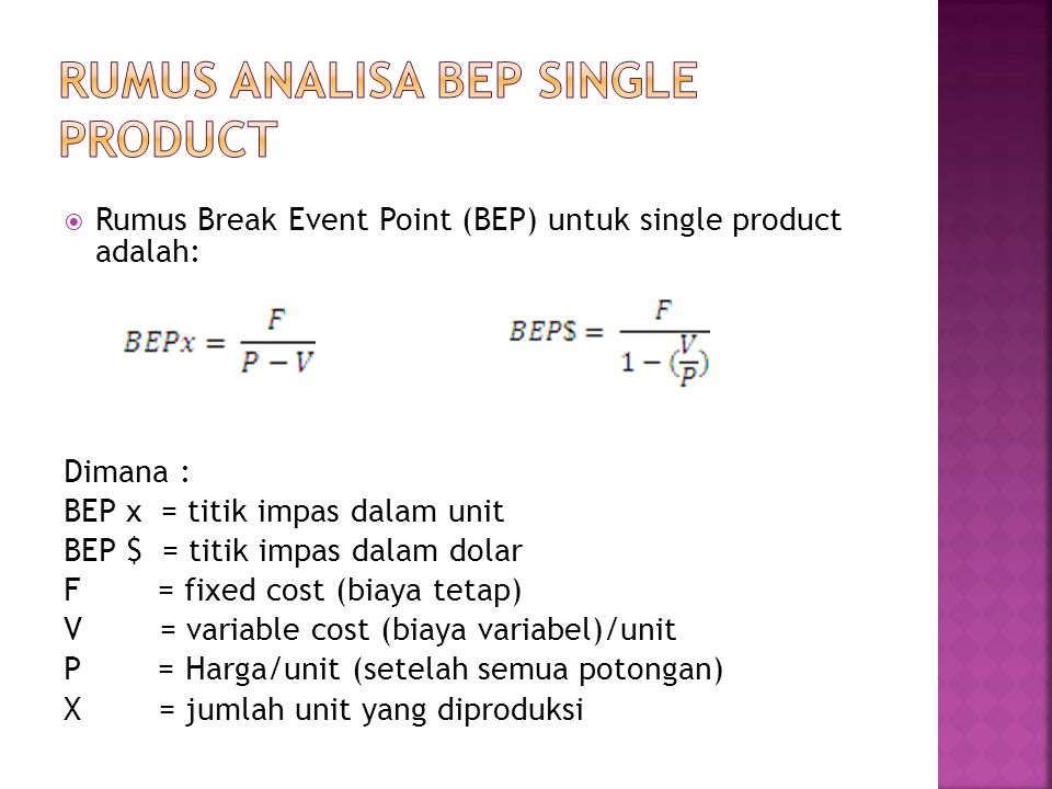 Rumus analisa BEP single product