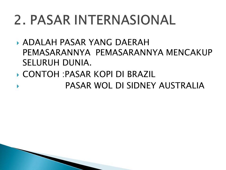 2. PASAR INTERNASIONAL ADALAH PASAR YANG DAERAH PEMASARANNYA PEMASARANNYA MENCAKUP SELURUH DUNIA.