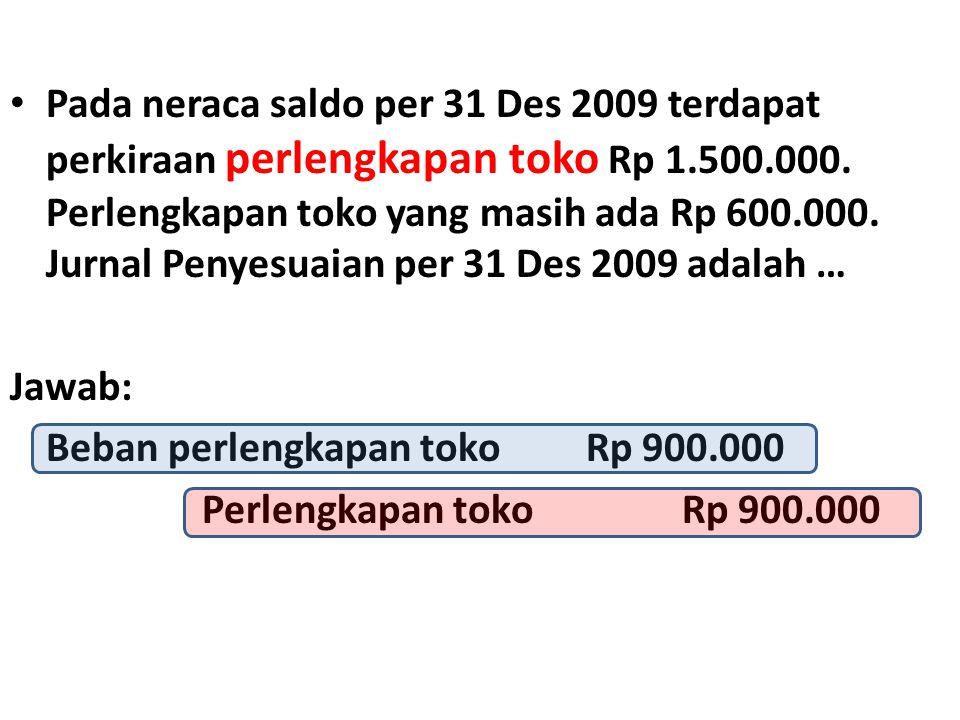 Pada neraca saldo per 31 Des 2009 terdapat perkiraan perlengkapan toko Rp 1.500.000. Perlengkapan toko yang masih ada Rp 600.000. Jurnal Penyesuaian per 31 Des 2009 adalah …