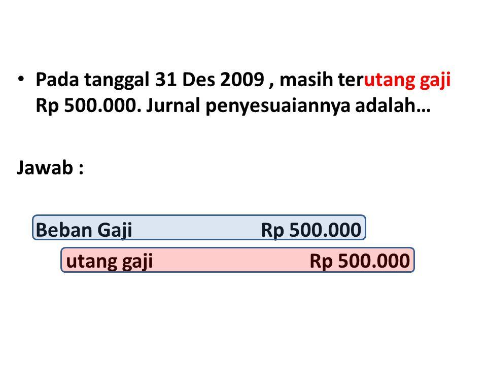 Pada tanggal 31 Des 2009 , masih terutang gaji Rp 500. 000