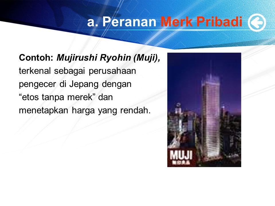 a. Peranan Merk Pribadi Contoh: Mujirushi Ryohin (Muji),