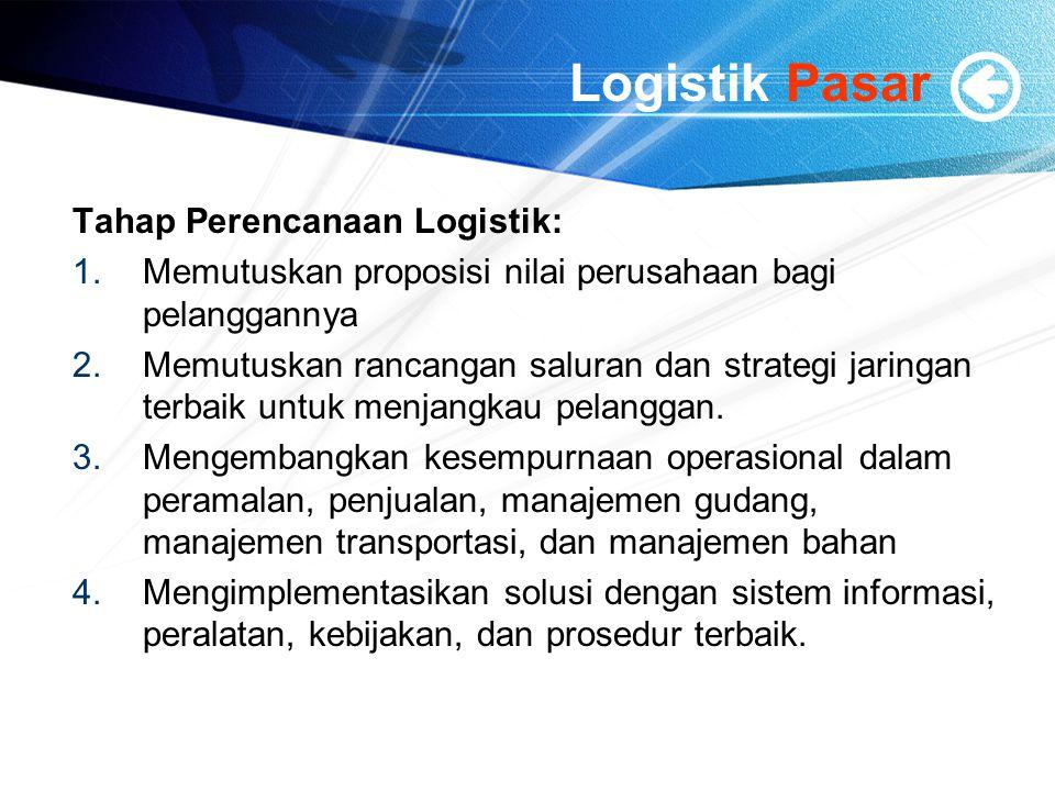 Logistik Pasar Tahap Perencanaan Logistik: