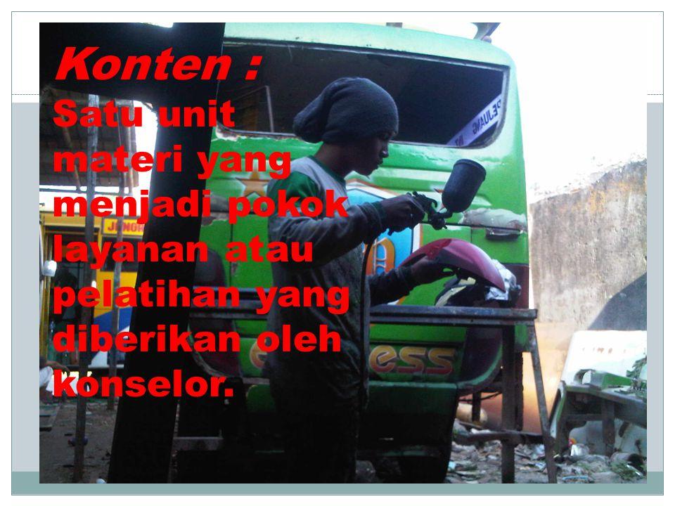 Konten : Satu unit materi yang menjadi pokok layanan atau pelatihan yang diberikan oleh konselor.