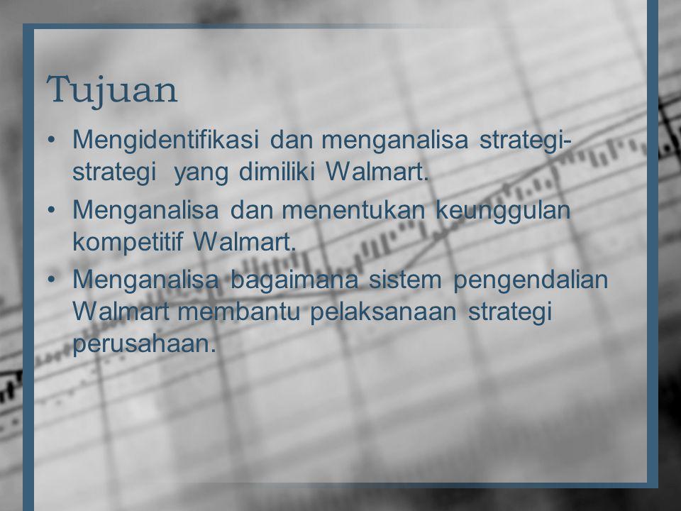 Tujuan Mengidentifikasi dan menganalisa strategi-strategi yang dimiliki Walmart. Menganalisa dan menentukan keunggulan kompetitif Walmart.