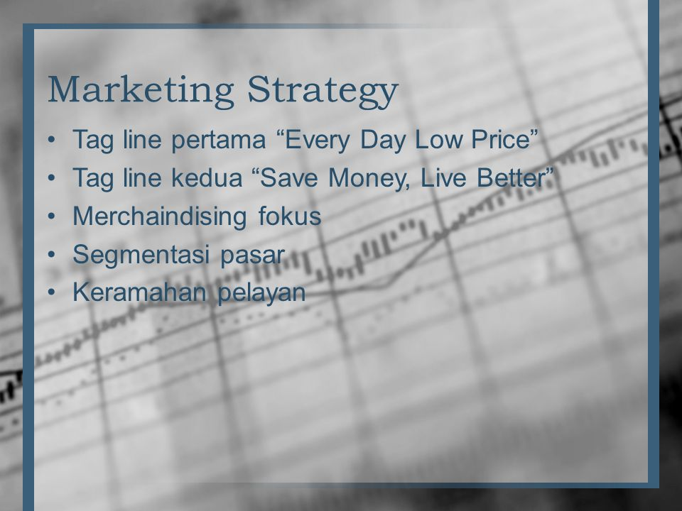 Marketing Strategy Tag line pertama Every Day Low Price