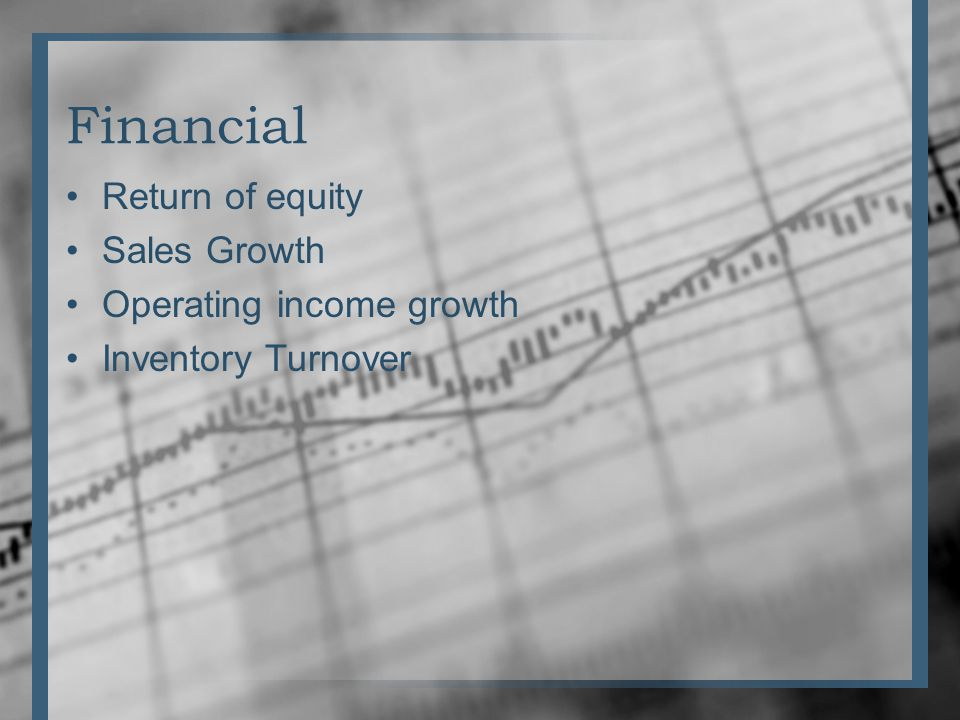 Financial Return of equity Sales Growth Operating income growth