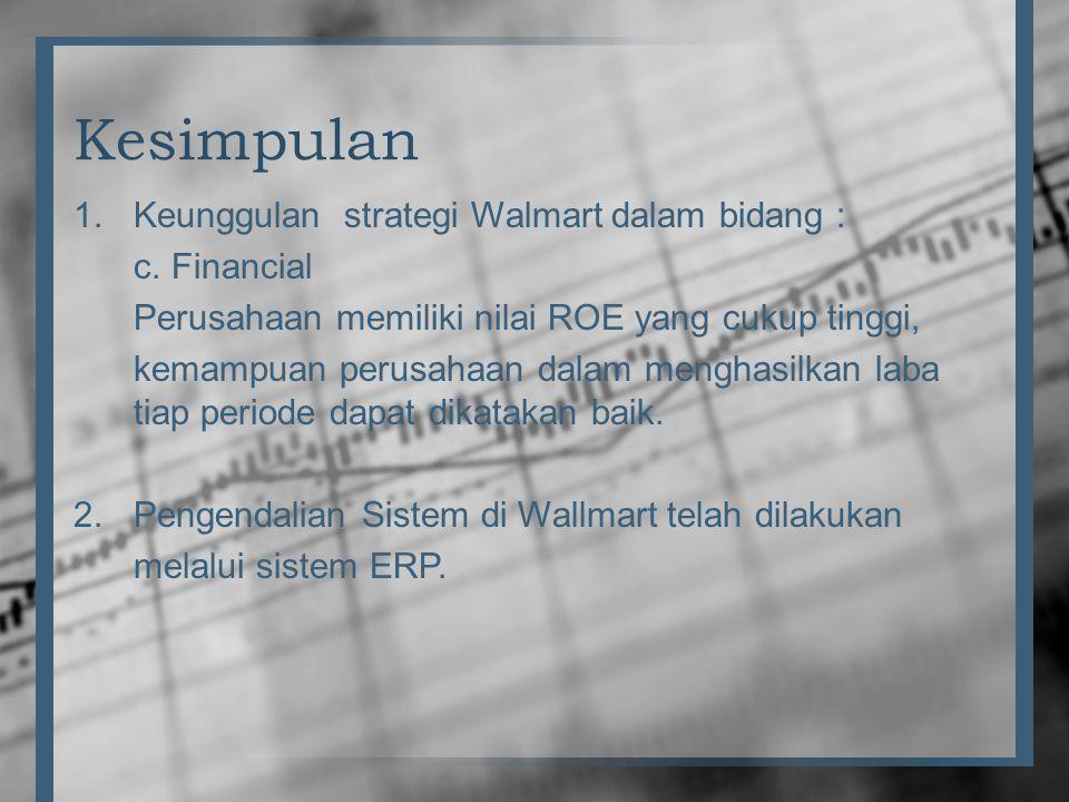 Kesimpulan Keunggulan strategi Walmart dalam bidang : c. Financial