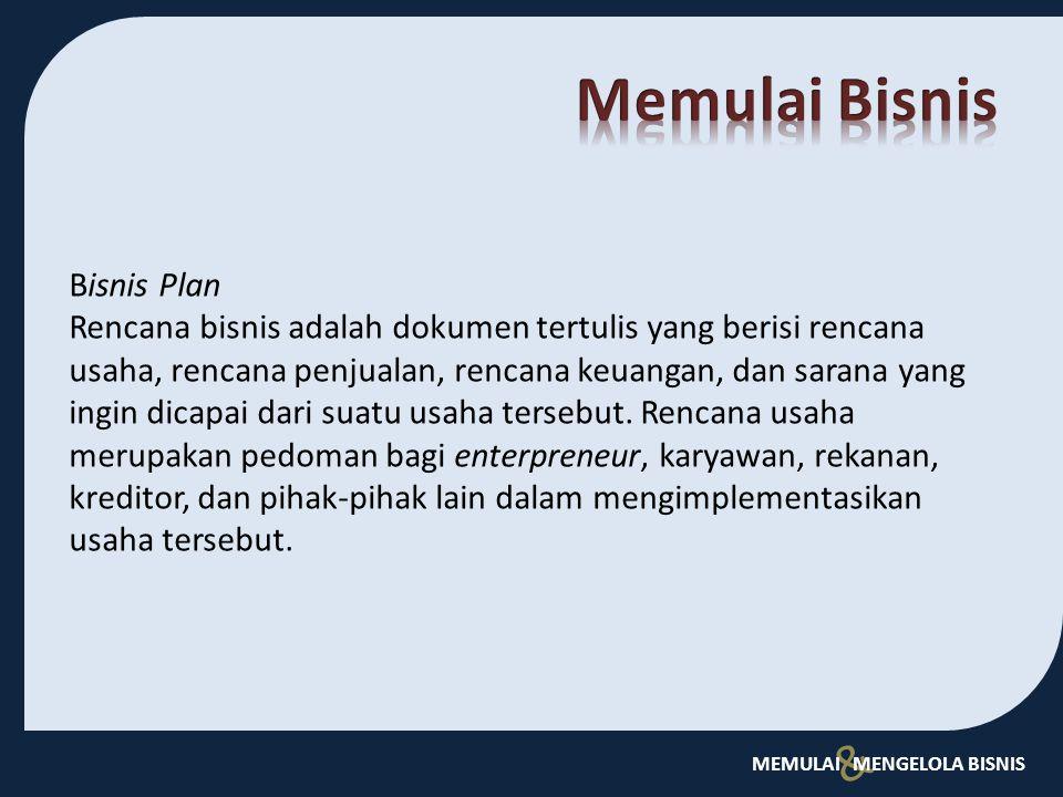 Memulai Bisnis Bisnis Plan