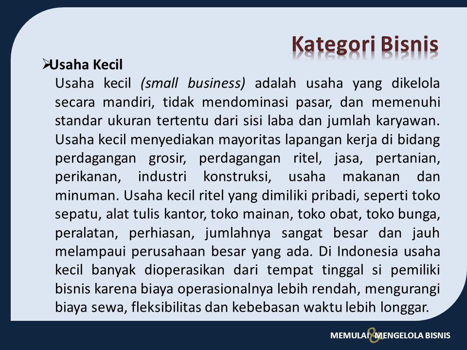 Kategori Bisnis Usaha Kecil