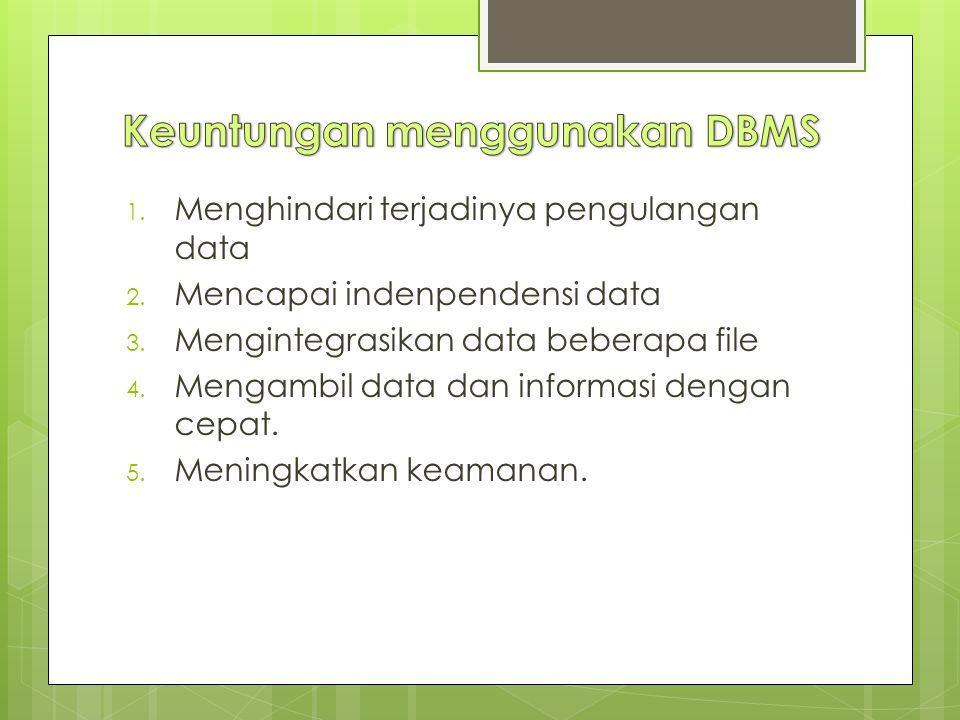 Keuntungan menggunakan DBMS