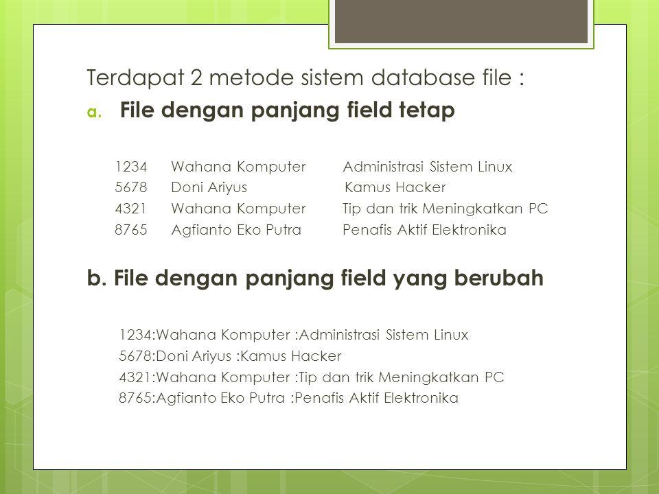 Terdapat 2 metode sistem database file :