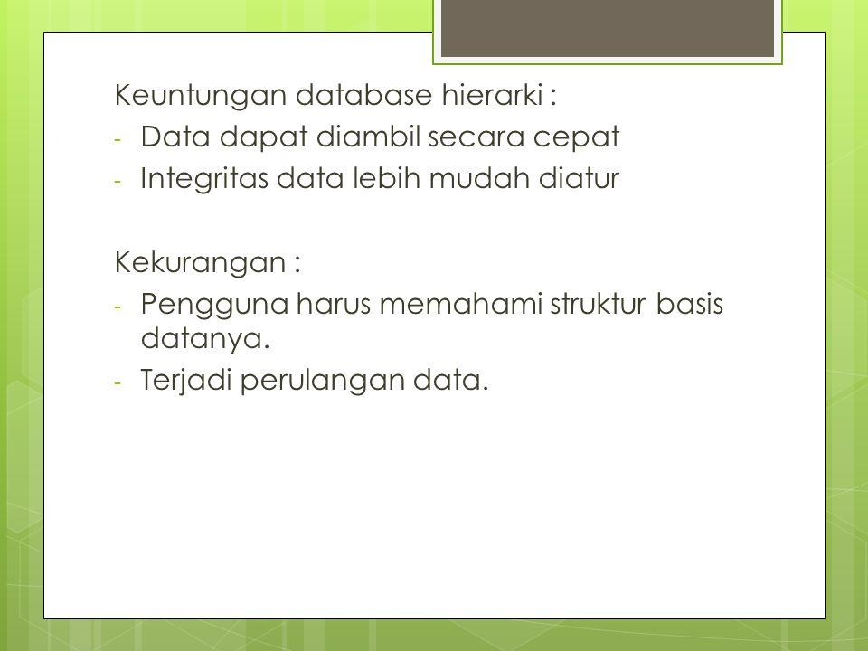 Keuntungan database hierarki :