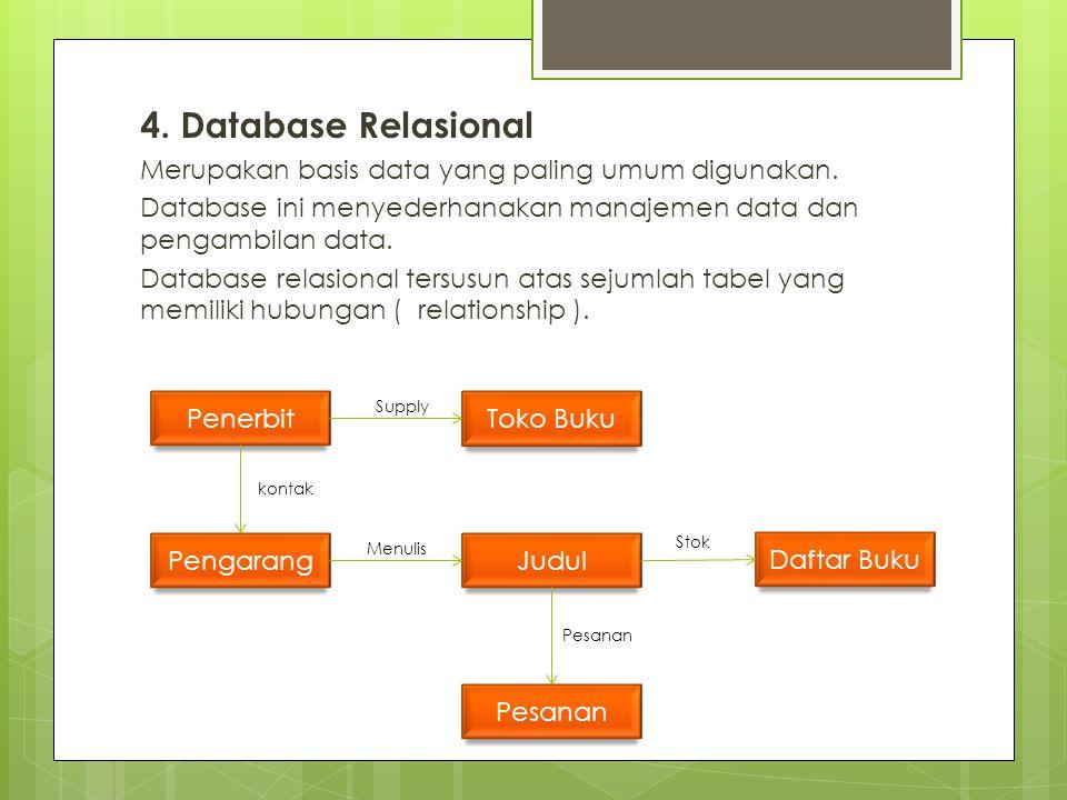 4. Database Relasional Merupakan basis data yang paling umum digunakan. Database ini menyederhanakan manajemen data dan pengambilan data.