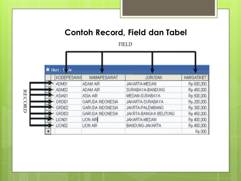 Contoh Record, Field dan Tabel