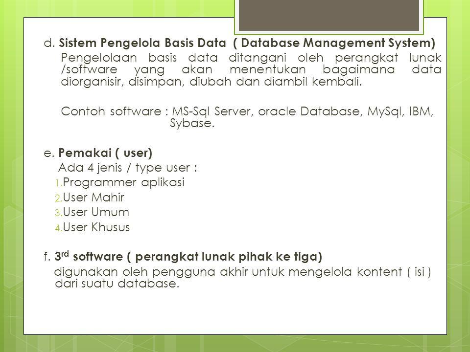 d. Sistem Pengelola Basis Data ( Database Management System)