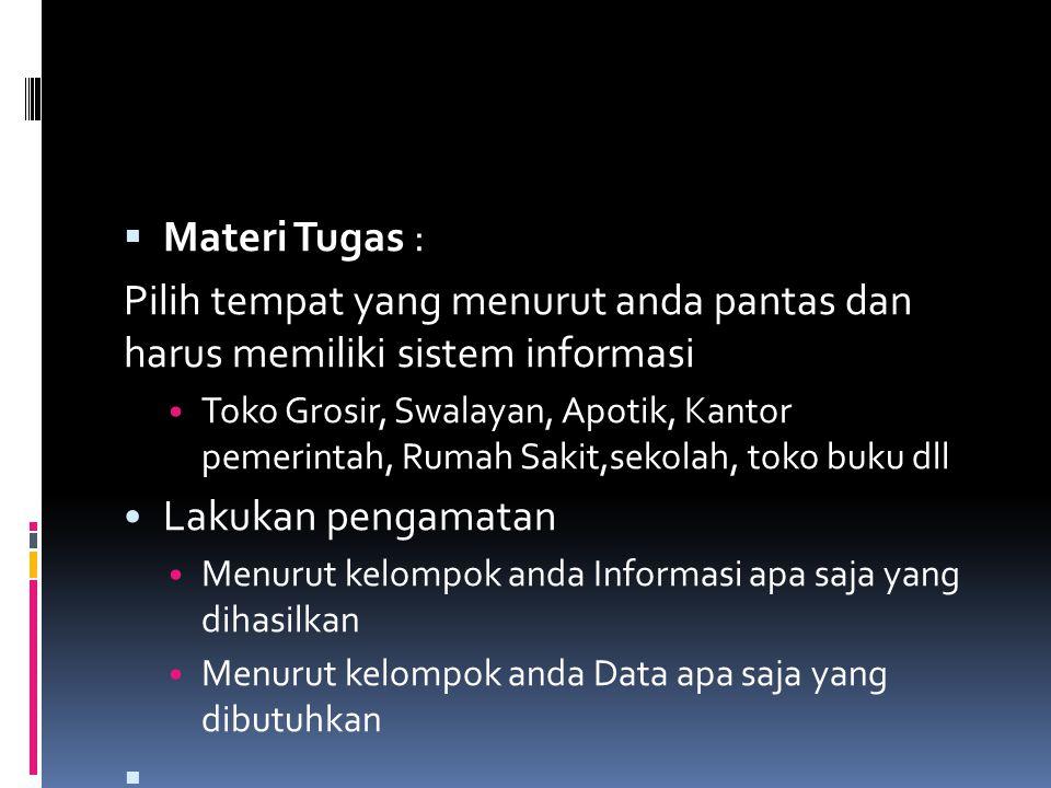 Materi Tugas : Pilih tempat yang menurut anda pantas dan harus memiliki sistem informasi.