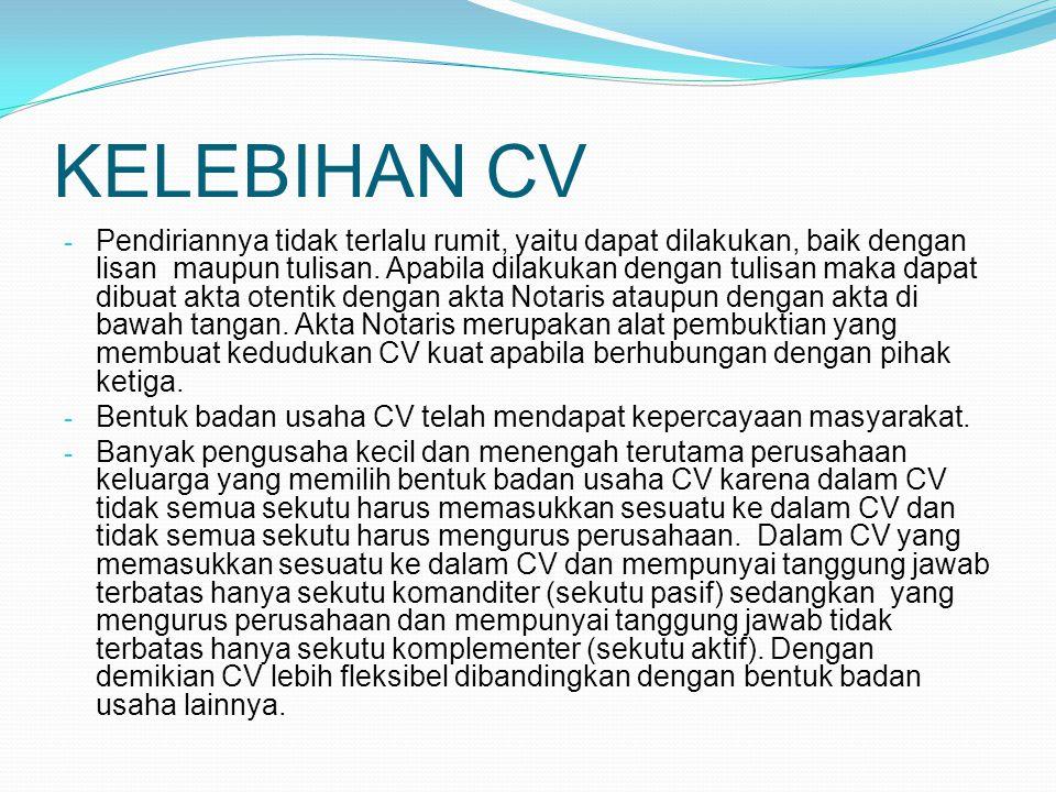 KELEBIHAN CV
