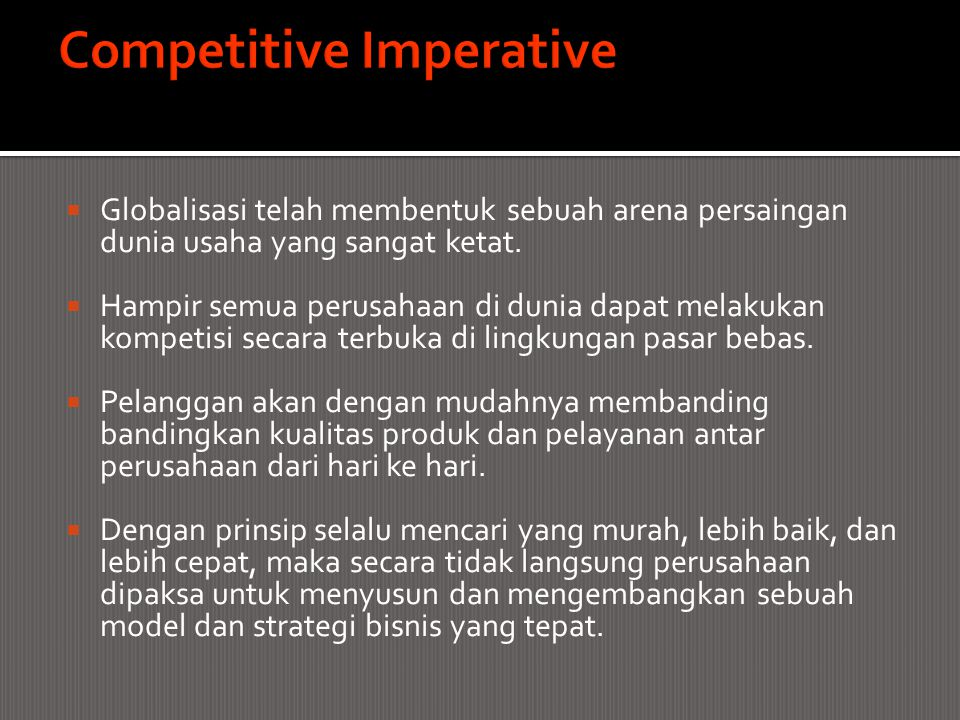 Competitive Imperative