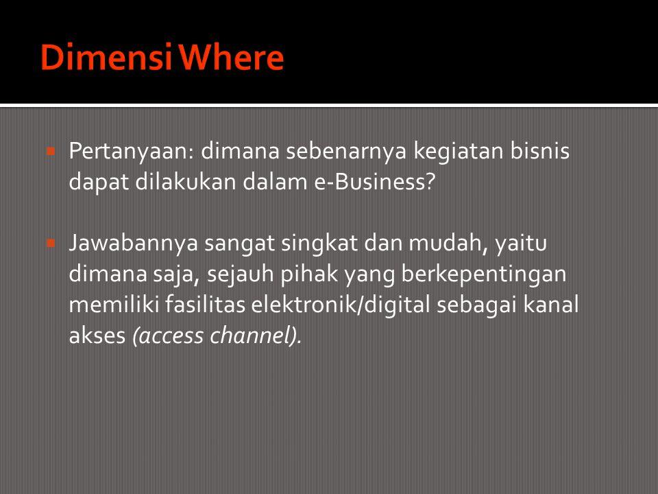 Dimensi Where Pertanyaan: dimana sebenarnya kegiatan bisnis dapat dilakukan dalam e-Business