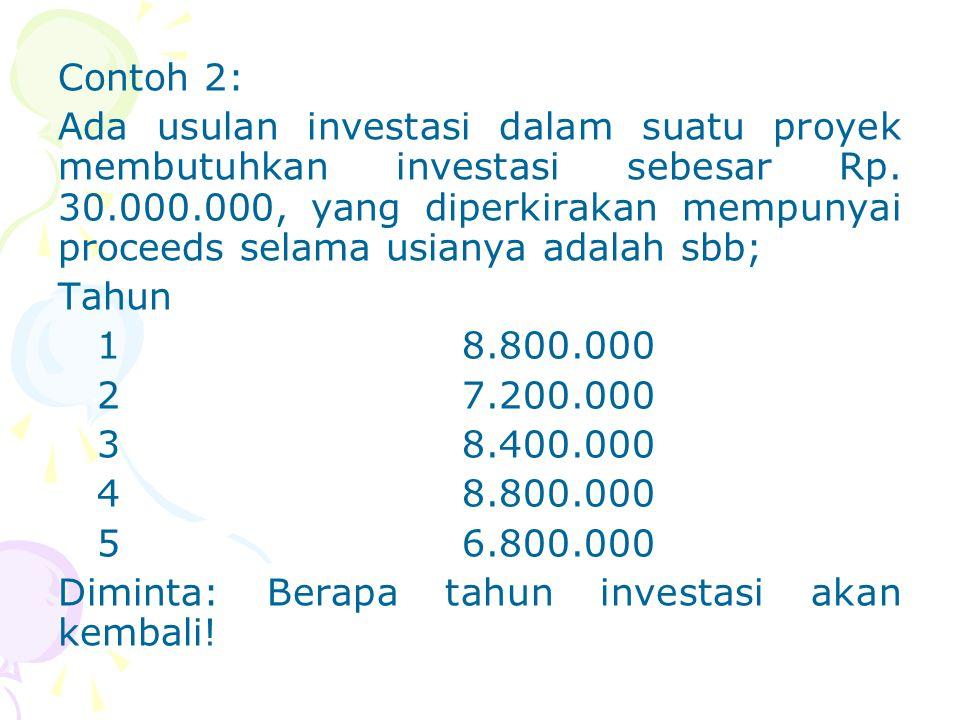 Contoh 2: Ada usulan investasi dalam suatu proyek membutuhkan investasi sebesar Rp.