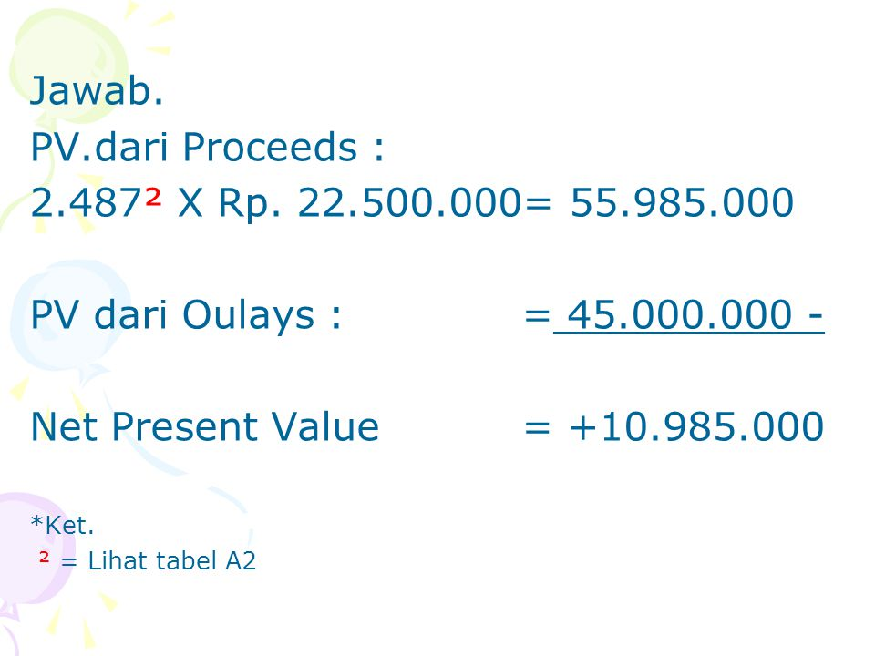 Jawab. PV.dari Proceeds : 2.487² X Rp. 22.500.000= 55.985.000