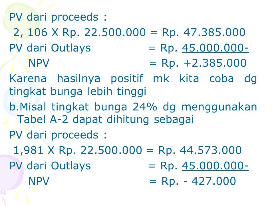 PV dari proceeds : 2, 106 X Rp. 22. 500. 000 = Rp. 47. 385