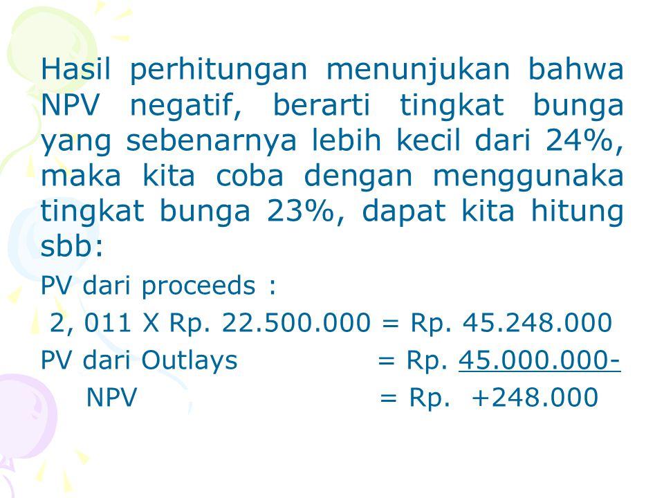 Hasil perhitungan menunjukan bahwa NPV negatif, berarti tingkat bunga yang sebenarnya lebih kecil dari 24%, maka kita coba dengan menggunaka tingkat bunga 23%, dapat kita hitung sbb: