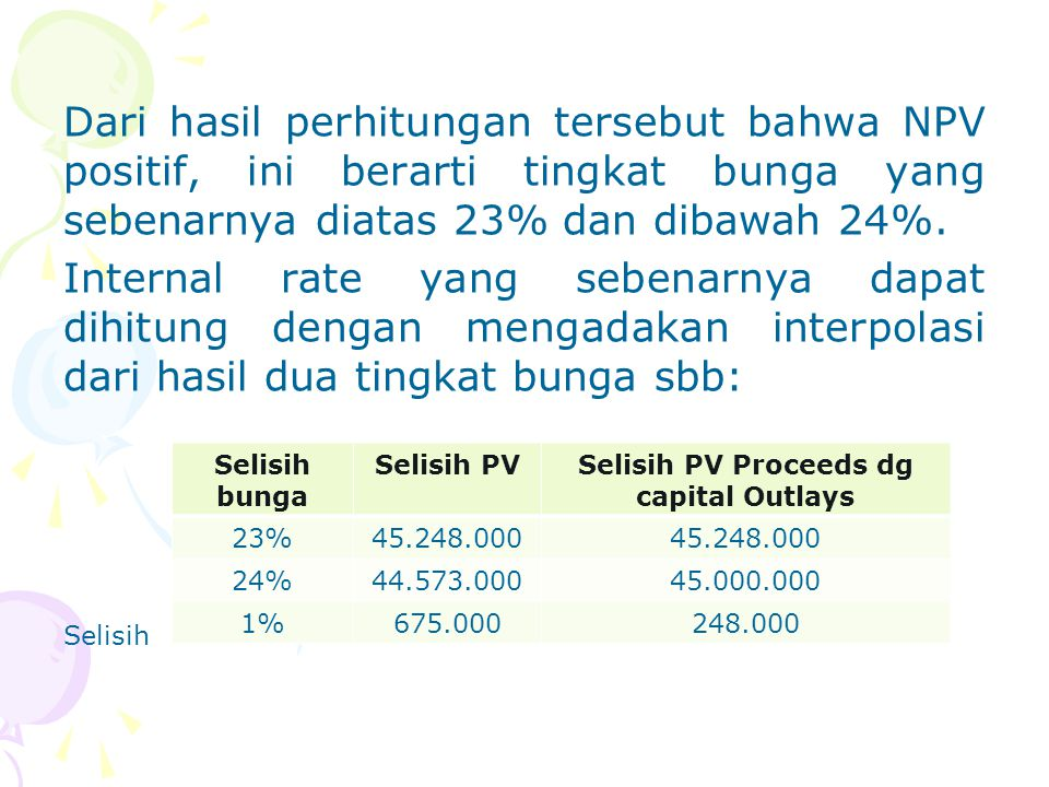 Selisih PV Proceeds dg capital Outlays