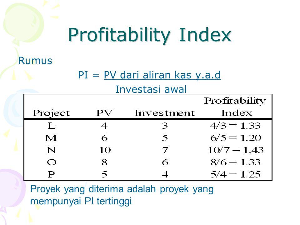 Profitability Index Rumus PI = PV dari aliran kas y.a.d Investasi awal