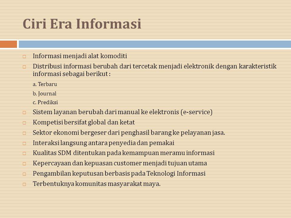 Ciri Era Informasi Informasi menjadi alat komoditi