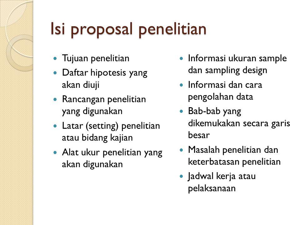Isi proposal penelitian