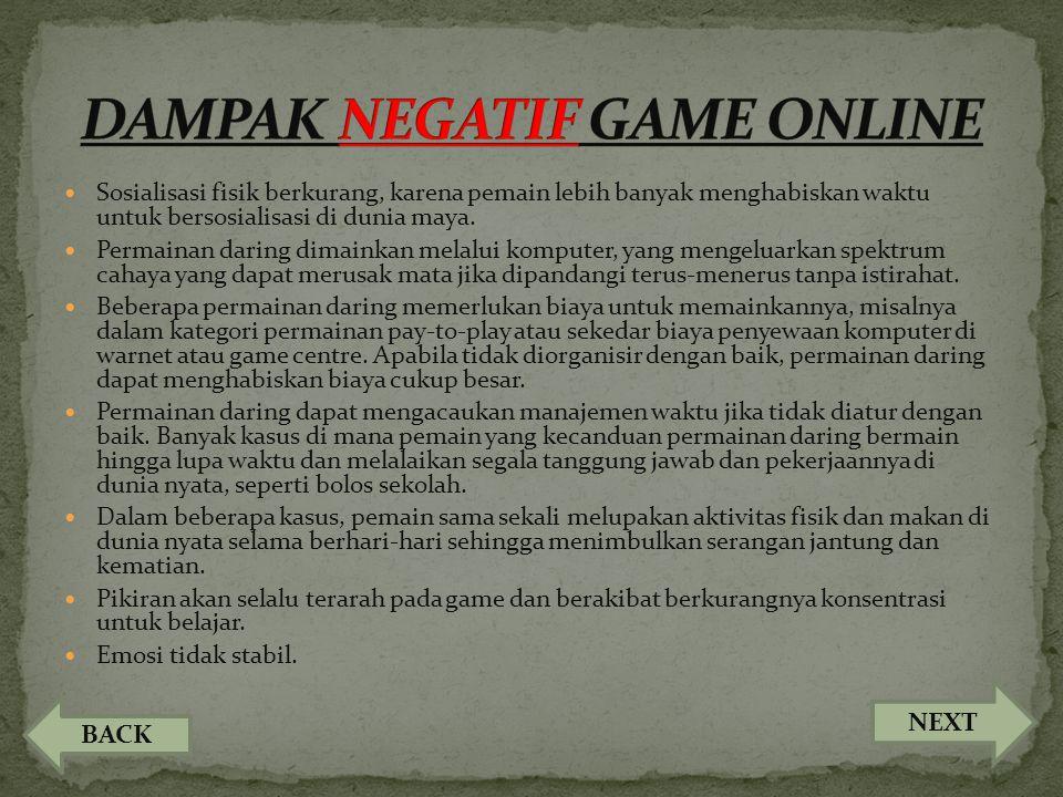 DAMPAK NEGATIF GAME ONLINE