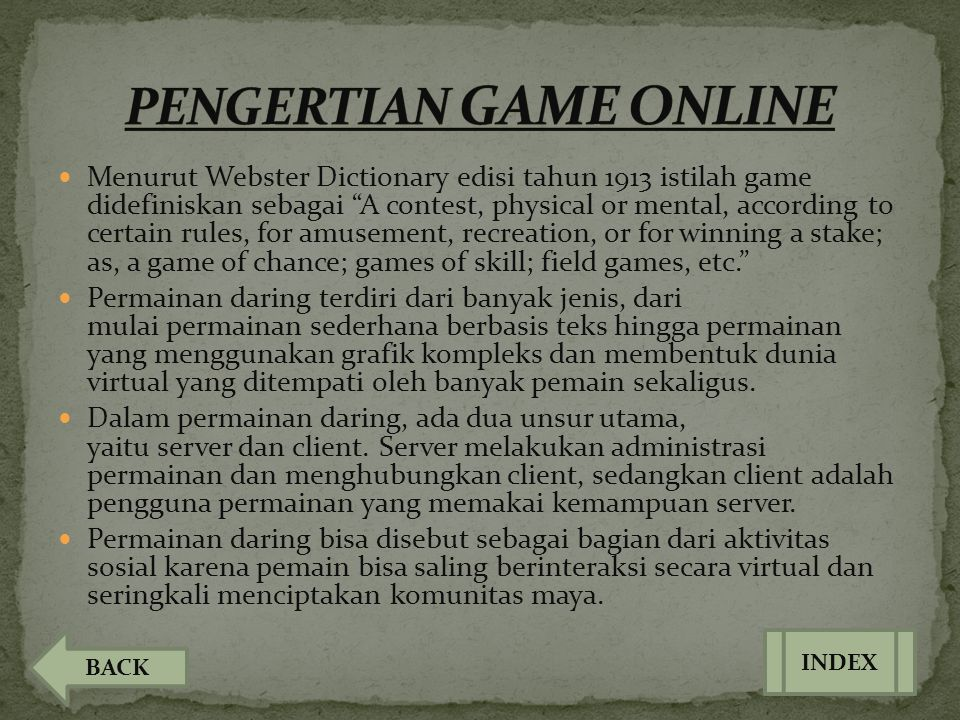 PENGERTIAN GAME ONLINE