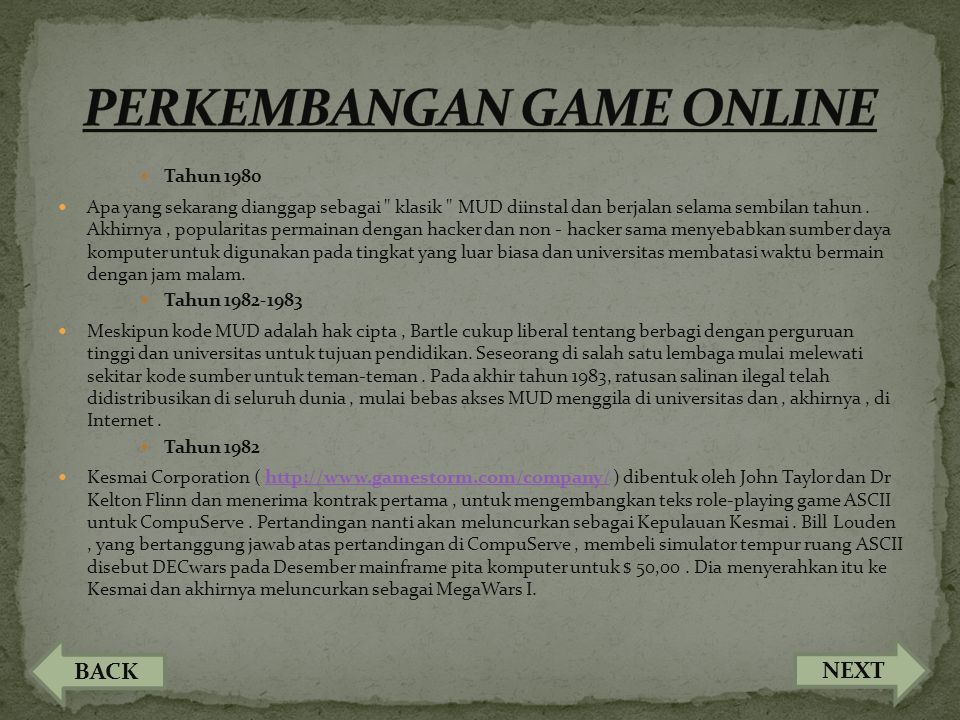 PERKEMBANGAN GAME ONLINE